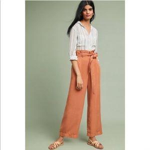 Anthropologie Blythe Wide-Leg Paperbag High Waist Pants Rust 14R